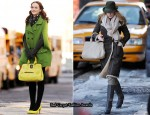 On The Gossip Girl Set With Leighton Meester & Blake Lively Carrying Longchamp Gatsby Bags