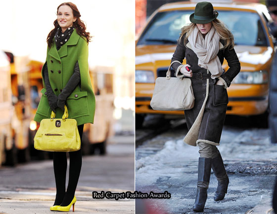 On The Gossip Girl Set With Leighton Meester   Blake Lively Carrying  Longchamp Gatsby Bags c4380157d94e2