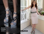 """The Back-Up Plan"" Press Conference - Jennifer Lopez Wearing Gucci 'Sigrid' Heels"