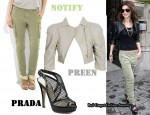 In Cheryl Cole's Closet - Preen Cropped Leather Jacket, Notify Cargo Pants & Prada Mesh Slingbacks