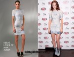 In Leighton Meester's Closet - Herve Leger Indigo Batik Print Dress