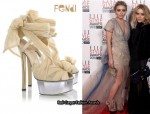 In Ashley Olsen's Closet - Fendi Tulle-embellished Suede Sandals