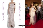 In Sandra Bullock's Closet - Alberta Ferretti Striped Chiffon Gown