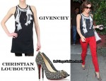 In Cheryl Cole's Closet - Givenchy Morrocan Belt Print Tank Dress, Christian Louboutin Studio 120 Peep-Toes & Christian Dior Bag