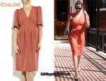 In Kylie Minogue's Closet - Chloé Shantung Coral Silk Dress