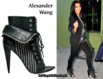 In Kim Kardashian's Closet - Alexander Wang Canvas Striped Freja Boots