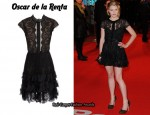 In Emilie de Ravin's Closet - Oscar de la Renta Pleated Lace Dress