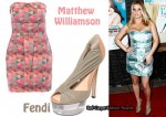 In Jessica Simpson's Closet - Matthew Williamson Geometric Print Dress & Fendi Cinderella Platform Heels