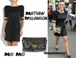 In Coleen Rooney's Closet - Matthew Williamson Dress & Miu Miu Oversized Sequin Clutch