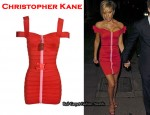 In Victoria Beckham's Closet - Christopher Kane Off-The-Shoulder Red Bandage Dress