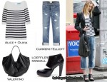 In Whitney Port's Closet - Alice + Olivia Top, Current/Elliott Jeans, Valentino 360 Bag & Loeffler Randall Heels