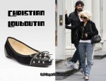 In Christina Aguilera's Closet - Christian Louboutin Studded Zipper Ballet Flats
