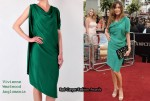 In Lisa Snowdon's Closet - Vivienne Westwood Anglomania Green Scarf Silk Dress & Mulberry Oversized Ava Suede Clutch