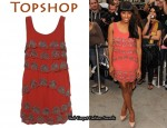 In Alexandra Burke's Closet - Topshop Lotus Bead Tiered Shift Dress