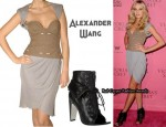 In Candice Swanepoel's Closet - Alexander Wang Corset Dress & Alexander Wang Freja Boots