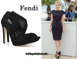 In Carey Mulligan's Closet - Fendi Suede Chiffon Cutout Sandals