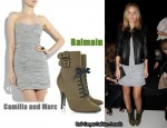 In Lara Bingle's Closet - Camilla & Marc Whitewash Ruched Mini Dress & Balmain Lace-Up Canvas Ankle Boots