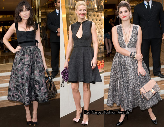 cb38843ec164 Daisy Lowe who is the face of Louis Vuitton s Damier Azur collection opted  for a corseted Louis Vuitton Fall 2010 dress with a print skirt.