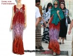 In Rihanna's Closet - Diane von Furstenberg Lucretia Silk Maxi Dress & Miu Miu Gladiator Sandals
