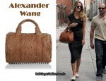 In Rosie Huntington-Whiteley's Closet - T by Alexander Wang Jersey Dress & Alexander Wang Quilted Rocco Duffel