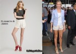 In Cameron Diaz' Closet - Elizabeth & James Drapey Silk Shorts & Chloe Wedges