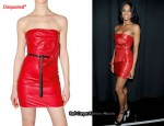 In Ciara's Closet - Dsquared² Red Leather Tube Dress & Dsquared² Spine Heels