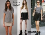 In Whitney Port's Closet - Rebecca Minkoff Alicia Top & Leather Pleated Clueless Skirt