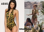 In Rihanna's Closet - ASOS Rope Print Cut-Out Plunge Bathing Suit