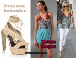 In LeAnn Rimes' Closet - Brian Reyes Cocoon Top & Proenza Schouler Perforated Platform Sandals