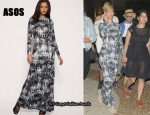 In Rihanna's Closet - ASOS Feather Print Jersey Maxi Dress & Miu Miu Gladiator Sandals