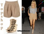In Sienna Miller's Closet - Topshop Sand Suede Shorts & Topshop Multi-Buckle Wedges