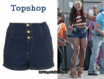 In Alexandra Burke's Closet - Topshop High Waisted Hotpants & Alexander Wang Top