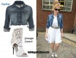 In Kylie Minogue's Closet - Topshop Denim Cropped Jacket, Topshop One-Shoulder Dress & Giuseppe Zanotti Open-Toe Studded Ankle Boots