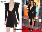 In Zoe Saldana's Closet - Balmain Suede Dress