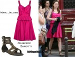 In Leighton Meester's Closet - Marc Jacobs Bow Front Dress & Giuseppe Zanotti for Balmain Gladiators