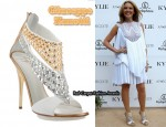In Kylie Minogue's Closet - Giuseppe Zanotti Leather Studded Sandals & Givenchy Pleated White Dress