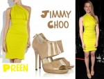 In Scarlett Johansson's Closet - Preen Plaza Asymmetrical Dress & Jimmy Choo Private Sandals