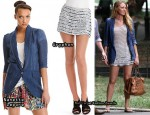 "In Blake Lively's Closet - Nanette Lepore ""Petal"" Linen Boyfriend Blazer & Gryphon Crocheted Sequin-Striped Mini Skirt"