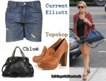 In Lindsay Lohan's Closet - Current Elliott Brass Tacked Denim Shorts, Topshop Heeled Loafers & Chloé Paraty Python Bag