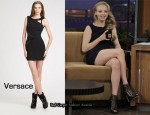 In Amanda Seyfried's Closet - Versace Patent-Trimmed Cut-Out Dress