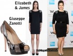 In America Ferrera's Closet - Elizabeth & James Dress & Giuseppe Zanotti Peep-Toes