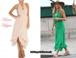 In Blake Lively's Closet - Haute Hippie Silk Ruffle Wrap Dress