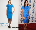 In Emily Blunt's Closet - Carolina Herrera Blue Satin Dress & Jimmy Choo Private Sandals