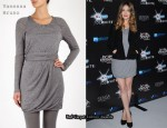 In Rose Byrne's Closet - Vanessa Bruno Grey Melange Drape Dress
