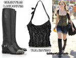 In Emma Watson's Closet - Christian Louboutin Egoutina Studded Leather Boots & Valentino Fringed Leather Bucket Bag