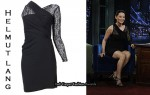 In Lucy Liu's Closet - Helmut Lang Puckered Lace-Arm Dress