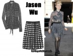 In Mia Wasikowska's Closet - Jason Wu Dot Print Blouse & Skirt