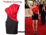 In Hilary Rhoda's Closet – Prabal Gurung Red & Black Pleated One Shoulder Dress