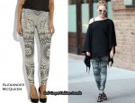 In Kylie Minogue's Closet - Alexander McQueen Printed Stretch-Wool Leggings