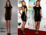 In AnnaLynne McCord's Closet - Alice + Olivia Juliana Velvet & Leather Dress and Pour La Victoire Bria Sandals
